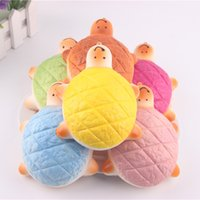 tortue molle achat en gros de-18PCS / Lot Vente en gros 14CM Cute Squishy Tortoise Phone Charms Jumbo Pains Scented Turtle Hand Pillow Soft Strap Bread Kid Toy Gift