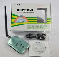 al por mayor alfa network-Alfa AWUSO36NH de alta ganancia USB inalámbrico G / N Long Rang WiFi adaptador de red con 5dbi red de antena