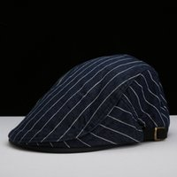 Wholesale Male Birthday Gift Men Casual Peaked Cap Women Classic Striped Newsboy Hat Cotton Beret