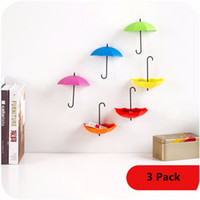Wholesale 3pcs Creative Free Nail Storage Hook Umbrella Shaped Single Wall Hooks Small Decorative Home Decor TT222