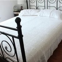 Wholesale Cotton Handmade Crochet Bedspread With Pillowcases Crocheted Coverlets Bed Linen White Lace Bedding Sets Fast Delivery