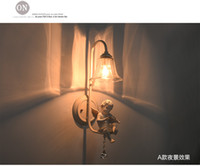 Wholesale Wall lamps Angel resin Europe style Iron pipe with glass lampshade Factory selling