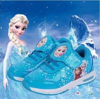 al por mayor botas de velcro-Princesa Zapatos de las muchachas para los cabritos 2016 Nuevos zapatos de los niños Hielo de la nieve de la nieve de la manera Elsa Anna Zapatillas de deporte ocasionales del niño