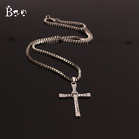 Wholesale Boo The Fast and the Furious Toledo Crystal Christian Silver Gold Classic Cross Pendant Necklaces Jesus charm movie jewelry Birthday gift