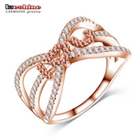 Wholesale LZESHINE Women Engagement Fingers Rings Rose Gold Silver Plated with Cubic Zirconia