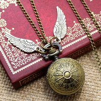ball mens watch - New Spider Web Ball White Angel Wing Necklace Pendant Watch Quartz Pocket Watch Mens Womens Gift P610