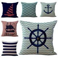 anchor textiles - Nautical Anchor Sailing Boat Throw Pillow Cases Cushion Cover linen Cotton Square Pillowcase Home sofa Bed Textiles Decor