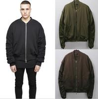 achat en gros de zip parkas d'hiver-Best-seller Mode Surdimensionné Bomber Veste Pour Hommes Noir Vert Café Warm Winter Parka Vestes Manteau Long Sleeve Zip-Up Casual Outwear K78