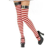 Wholesale Christmas accessories Female Christmas stockings Red and white striped stockings Women Sexy belt buckle filar socks TA68