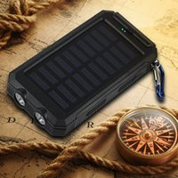 Wholesale Solar Panel Charge Light - 10000mah Travel Portable Waterproof Solar Power Bank 2 USB External Solar Panel Charging Dual LED Light