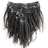 Wholesale 100g Brazilian Kinky curly virgin hair clip ins a b c Afro Kinky Curly Clip In Hair Extensions For Black Woman