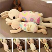 achat en gros de rose des animaux en peluche de lapin-Cute Funny Baby Peluche Poupées Pink Stuffed Animaux Lapins Cadeau Pour Enfant Jouets Lisse Obedient Sleeping Rabbit D13