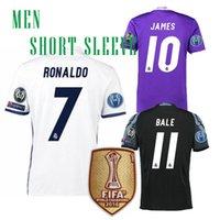 Wholesale l Real Madrid football jerseys uniform home away men sets Maillot de foot Ronaldo james bale benzema kroos modric Football Shirts2017
