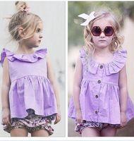 al por mayor niñas pequeñas prendas de vestir de color púrpura-Los vestidos más nuevos de los niños del bebé de las muchachas que arropan el algodón del verano rizaron la púrpura de la rebeca del niño de la princesa Vestido visten la ropa del boutique