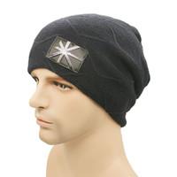 Wholesale Qiu dong metal union jack labeling man han edition hat knitting hat sets warm winter hats