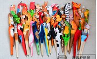 Wholesale 50pcs Handmade Ballpoint Pen Lovely Artificial Wood Carving Animal ball pen Creative Arts blue pens gift New many color