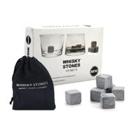 Wholesale Natural Whiskey Stones Reusable Ice Stone Chilling Rocks Cubes in Gift Box with Carrying Pouch Set of for Whiskey Wine ELWS002