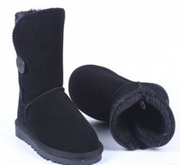 Cheap Top Quality Women Winter large plus size Au one or three button Genuine Leather Fur Snow Boots