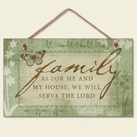 Wholesale Wooden sign features flowers and a butterfly Family As for me and my house we will serve the Lord