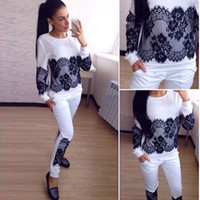 auto shirt - New Arrival Black Lace Applique Cotton Women Tracksuits Spring and Autumn O Neck Long Sleeves Sport T Shirt Suits Two Pieces