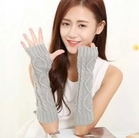 Wholesale Korean winter warm lovely wool cuff Half Finger Gloves and arm sleeve short sleeve false lady a twist