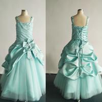 Reference Images aqua bows - 2015 Aqua Ball Gown Little Girl Pageant Dresses Princess Beaded Lace Appliques Satin Tulle Party Dress dhyz