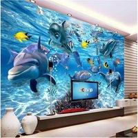 Wholesale Custom photo wallpaper D stereo underwater world of marine fish living children s room TV background d mural wall paper