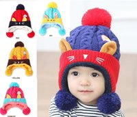 baby boy kittens - Kitten winter baby hats Ear cap Wool cap boys and girls Baby knitting hats with Hairball cute children s caps MZ4056