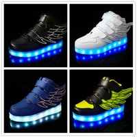 Wholesale Wings Led Light Up Shoes Colors Flashing Rechargeable Sneakers Ankel Boots for Kids Boys Girls Toddler Little Kids Big Kids