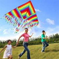 Trangle bars game - Rainbow Kite Summer Outdoor Toys Fun Sports Kite Children Triangle Color Kite Easy Fly Games Activities Kid Gift