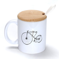 bamboo bicycle - Retro bicycles Mug Coffee Milk Ceramic Cup Creative DIY Gifts Mugs oz With Bamboo cover lid Spoon S098