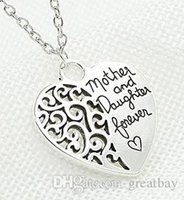 Wholesale Mother daughter heart pendant necklace chain alloy pendant necklace