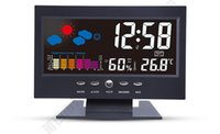 Snooze Function antique thermometer - Acoustic Control Sensing Backlight Alarm Digital Table Clock Color Weather Meter in Black Thermometers Hygrometers Free Shipment