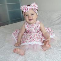 Wholesale INS summer girls cotton floral dresses little gir pink blue vest princess dress baby floral tutu party dresses infant children lace dress