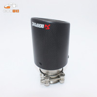 Wholesale One Akrapovic Car Exhaust mm Inlet mm Outlet Universal Carbon Fiber Exhaust Tip Muffler Stainless Steel Car Exhaust