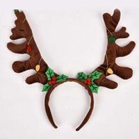 Wholesale Selling Christmas moose head hoop decorations brown light brown green cm