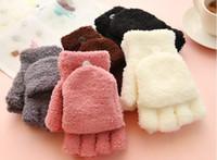 Wholesale New pattern Winter warm gloves Half finger Full finger Soft Women gloves Plush material Fashion casual Elastic Fingerless Gloves