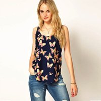 animal top speeds - MINI HOT SELLING Butterfly print women s vest round collar sleeveless condole belt speed sell tong hot style chiffon unlined upper