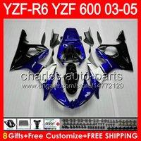 al por mayor yzf r-Fábrica azul 8gifts Para YAMAHA YZFR6 03 04 05 YZF600 YZF R6 03-05 83HM1 YZF 600 YZF-600 YZF R 6 YZF-R6 2003 2004 2005 Kit de carenado Negro azul