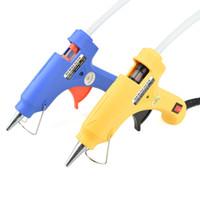 Wholesale 20W EU Plug Hot Melt Glue Gun with Free pc mm Glue Stick Industrial Mini Guns Thermo Electric Gluegun Heat Temperature Tool