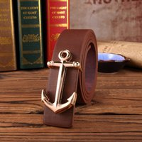 Wholesale Lady Jeans Belt - 2016Europe and the United States Retro Anchorage jeans belts men classic G flat buckle belt ladies trend belt