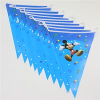 Wholesale set mickey mouse banners theme party paper flags colours baby boy favor birthday party decoration party supplies