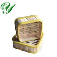 bamboo rice steamers - Bamboo Steamer with lid bento lunch box Healthy Cooker food container inch square with plastic wrapper Rice Pasta fish