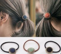 Wholesale Europe and the United States fashion headband hair circle Circle inlay accessories tie the head hair rope The new leather band hair wholesal
