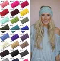 Wholesale 31 Colors Crochet Headband Knitting Hairband Flower Winter Wrap Ear Warmer Head Wrap Band Hair Jewelry For Women Girls PPA738