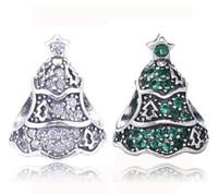 achat en gros de zircon lâche-Authenic argent 925 en argent sterling arbre Zircon cubique pavés européens charmes pour Pandora Style Bracelets DIY Loose charme