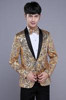 Wholesale yellow red Sequins compere blazer jacket fashion prom super star wedding dress for singer dancer star nightclub performance show