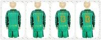 Wholesale Youth Kids soccer Jersey Barcelonaes TER STEGEN Cillesse Goalkeeper Long Sleeve Uniforms Kit Light Green Jerseys
