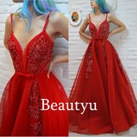 Wholesale Spaghetti Strap Red Long Prom Dresses With Beaded Ruched A Line Sleeveless Sexy Women Party Evening Dress For Graduation