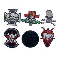 apparel biker - 10pcs Halloween Skull Patch For Clothing Punk Patches parches ropa Embroidered Apparel Fabric Patchwork Biker Badge Appliques Accessories